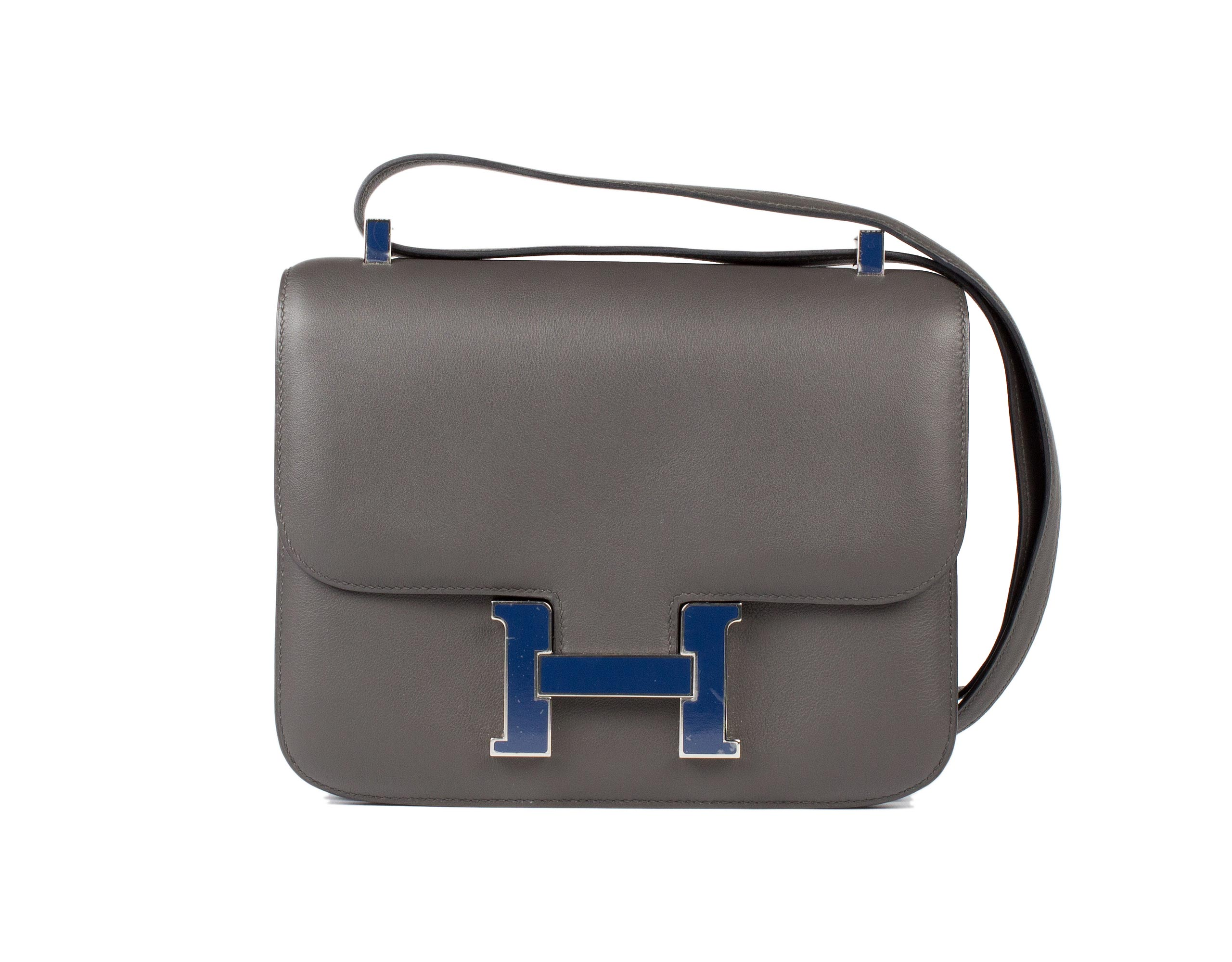 Hermes Bag Constance Graphite And Blue Swift C8 Front