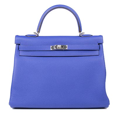 Hermes Bag Kelly Blue Electric Togo 35cm K73 Front