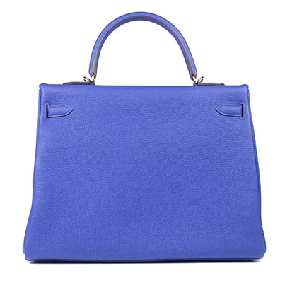 Hermes Bag Kelly Blue Electric Togo 35cm K73 Back