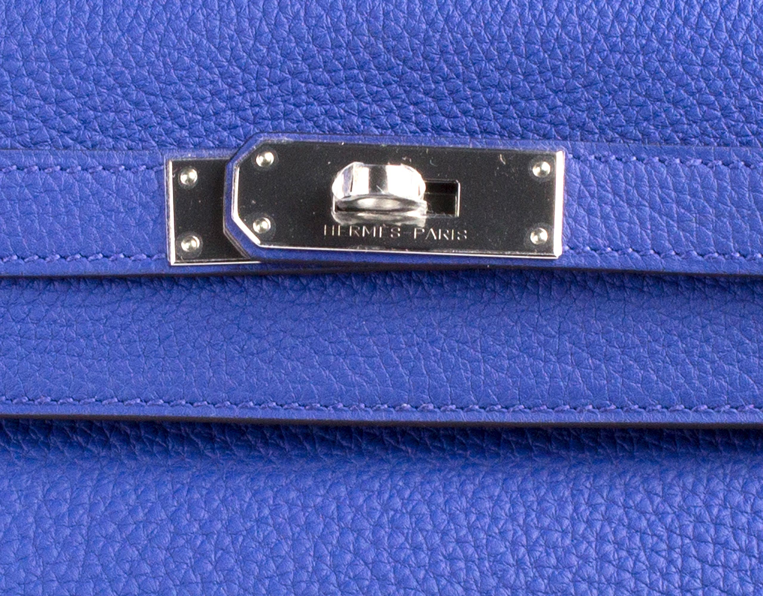 Hermes Bag Kelly Blue Electric Togo 35cm K73 Lock