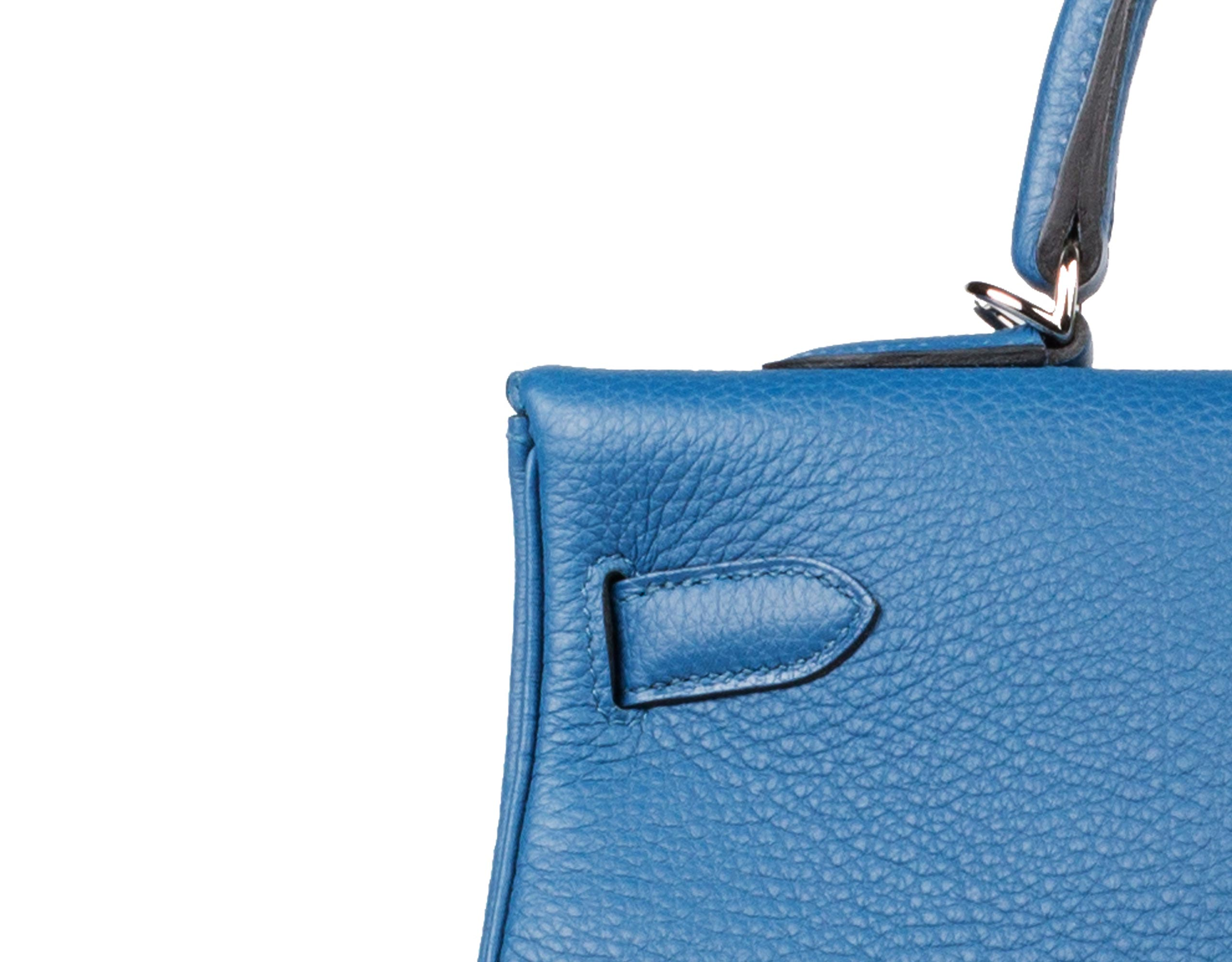 Hermes Bag Kelly Blue Galice Clemence 35cm K75 Stitching