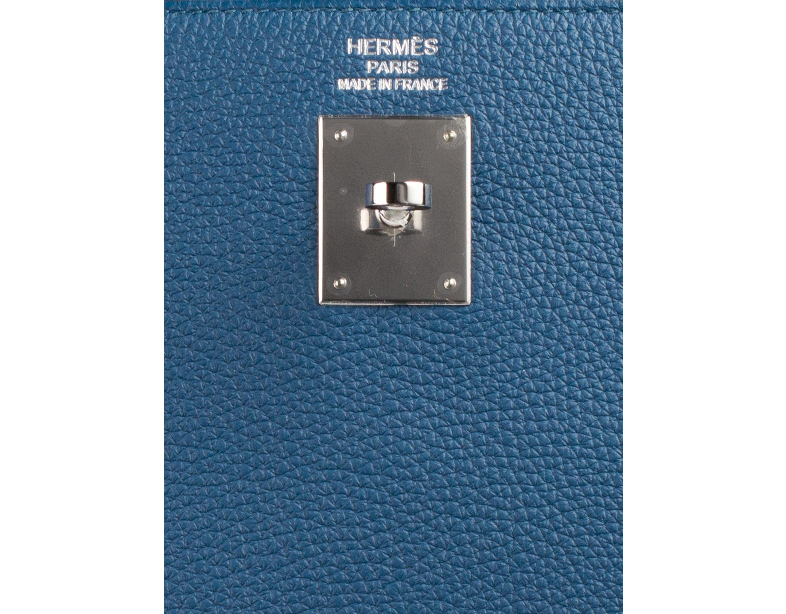 Hermes Bag Kelly Blue Galice Clemence 35cm K75 Gilt