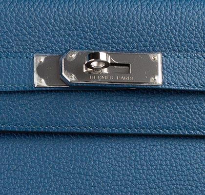 Hermes Bag Kelly Blue Galice Clemence 35cm K75 Lock