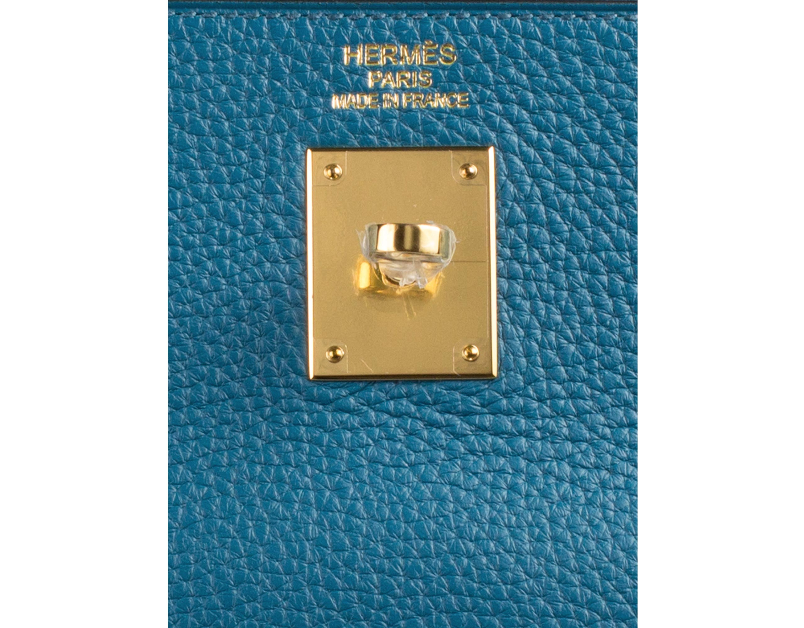 Hermes Bag Kelly Blue Izmir Togo 35cm K74 Gilt