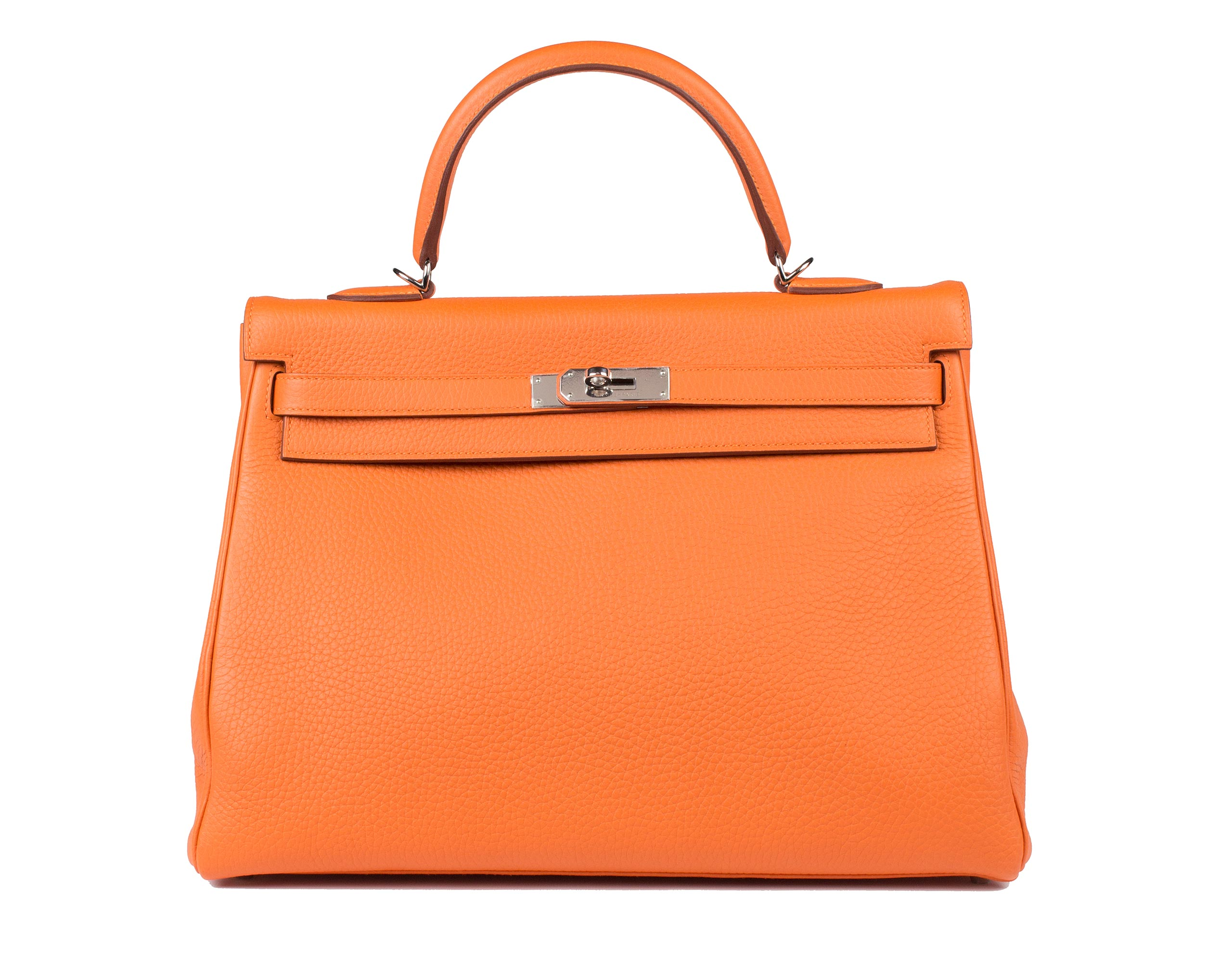 Hermes Bag Kelly Orange Clemence 35cm K73 Front