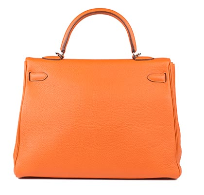 Hermes Bag Kelly Orange Clemence 35cm K73 Back