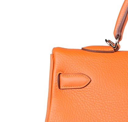Hermes Bag Kelly Orange Clemence 35cm K73 Stitching