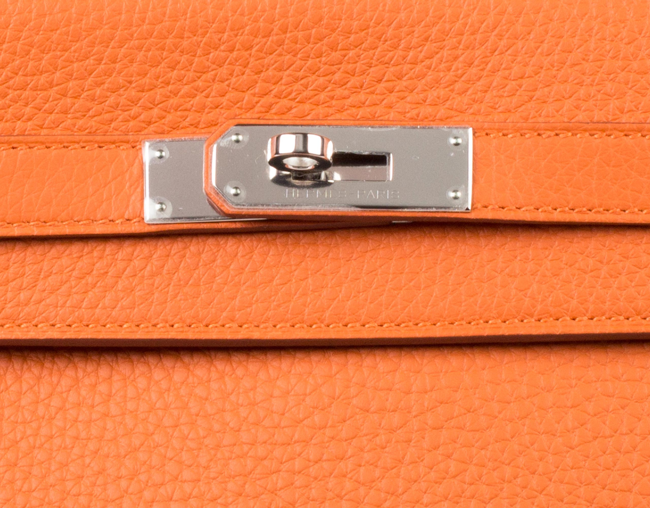 Hermes Bag Kelly Orange Clemence 35cm K73 Lock