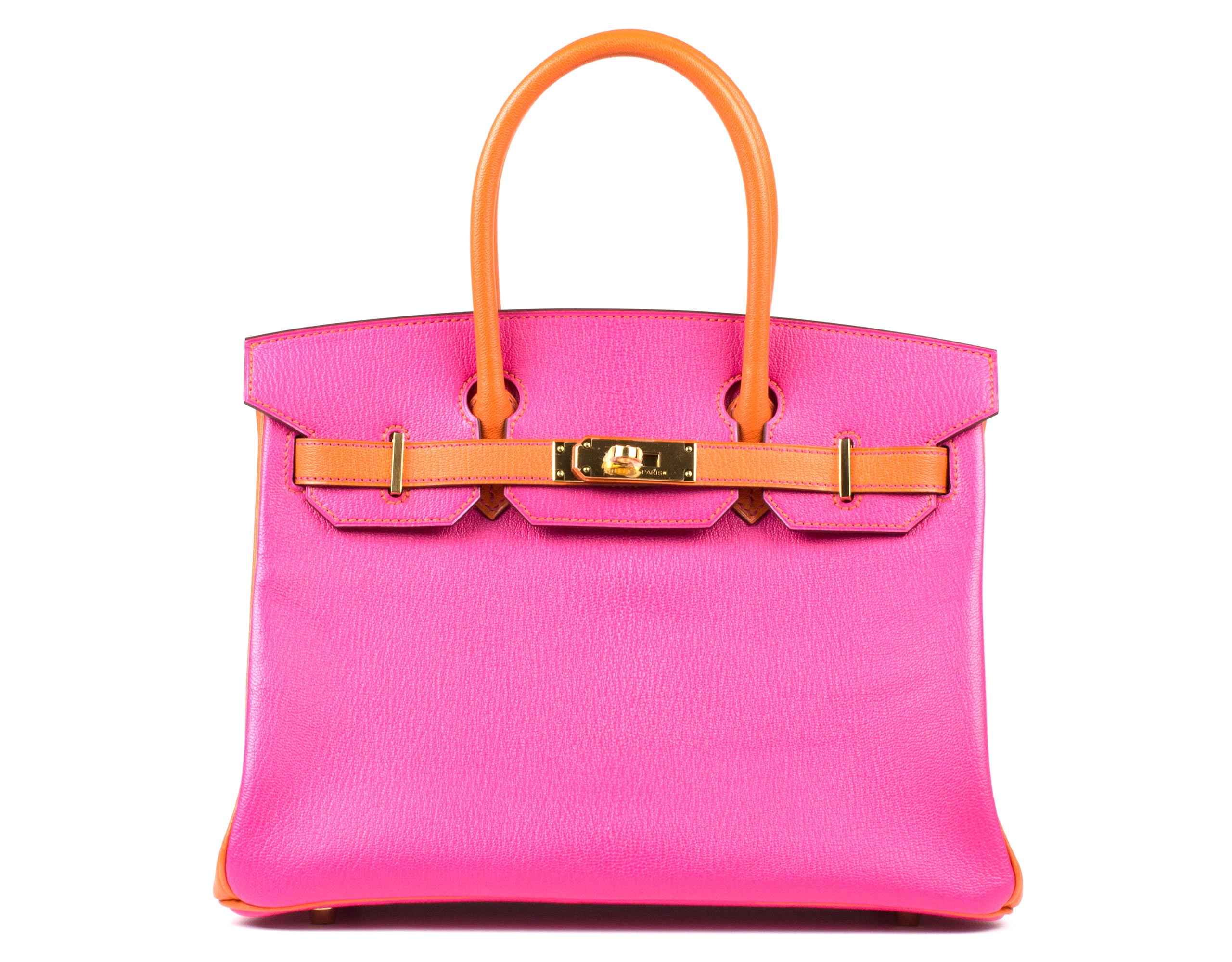 Hermes Bag Birkin Rose Tyrien And Orange Togo 30cm B95 Front