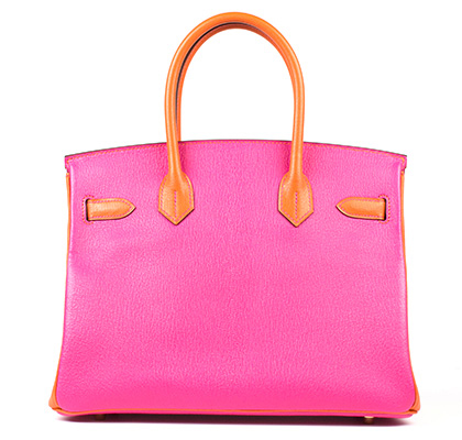 Hermes Bag Birkin Rose Tyrien And Orange Togo 30cm B95 Back