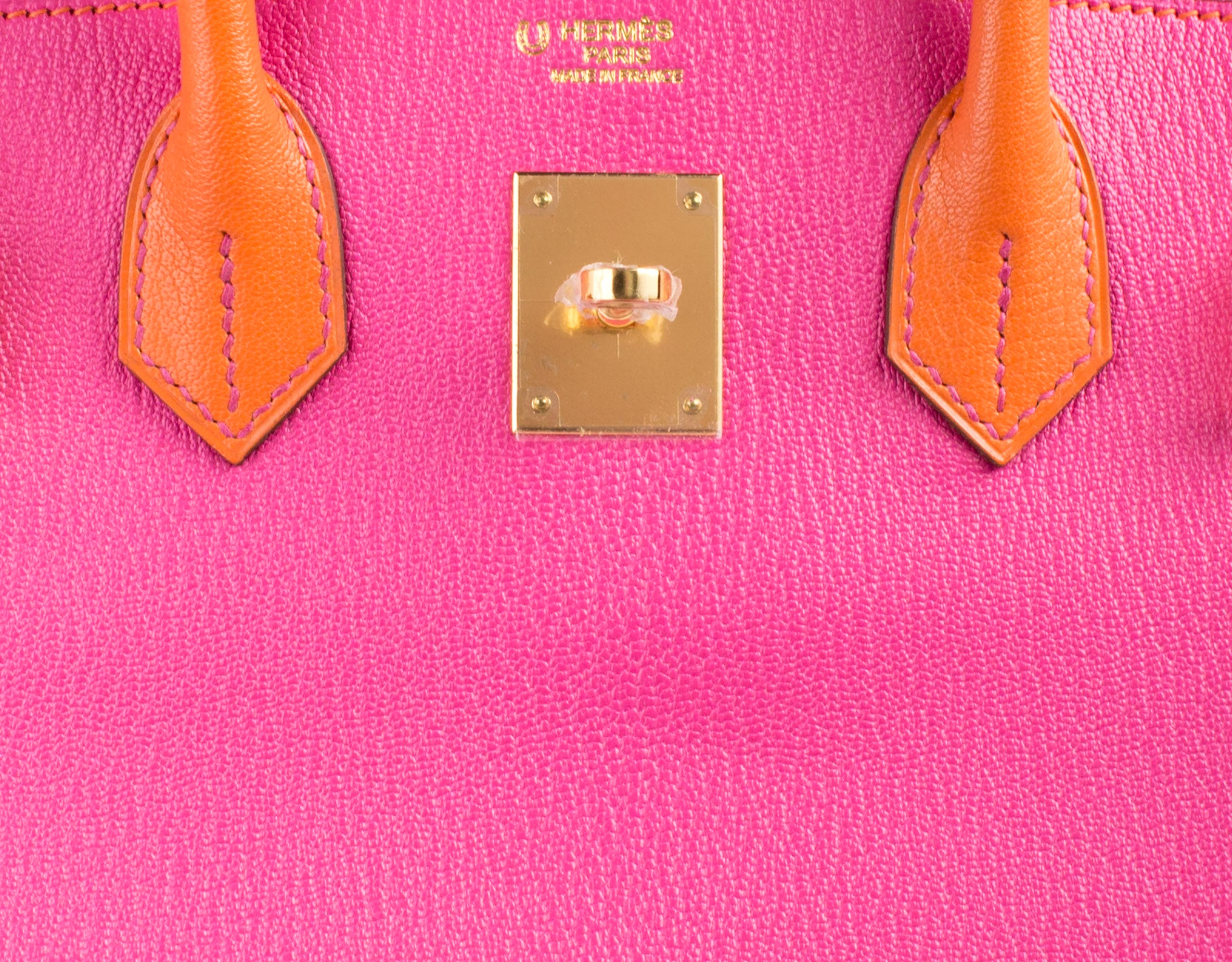 Hermes Bag Birkin Rose Tyrien And Orange Togo 30cm B95 Gilt