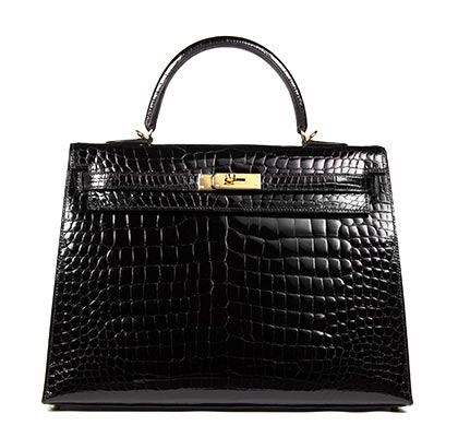 Hermes Bag Kelly Black Porosus Croc Shiny 35cm K72 Front