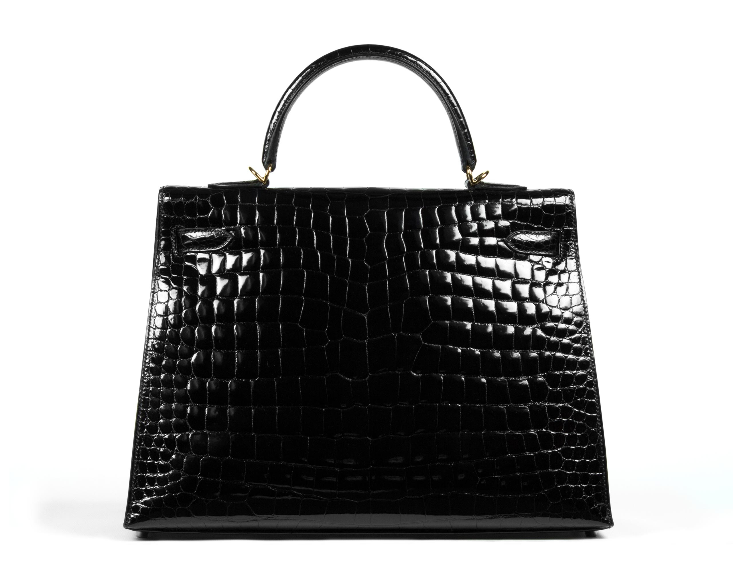 Hermes Bag Kelly Black Porosus Croc Shiny 35cm K72 Back