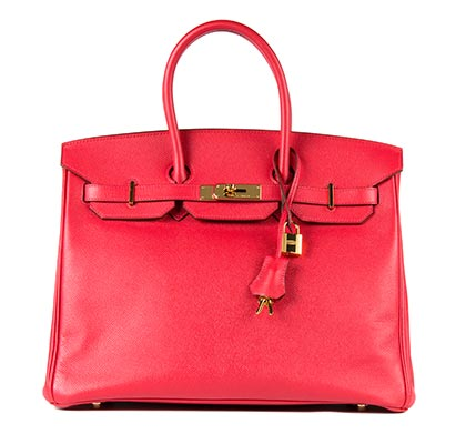Hermes Bag Preowned Birkin Bourganvillea Epsom 35cm POB8 Front With Lock
