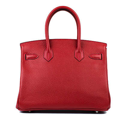 Hermes Bag Birkin Rouge Casaque Clemence 30cm B96 Back