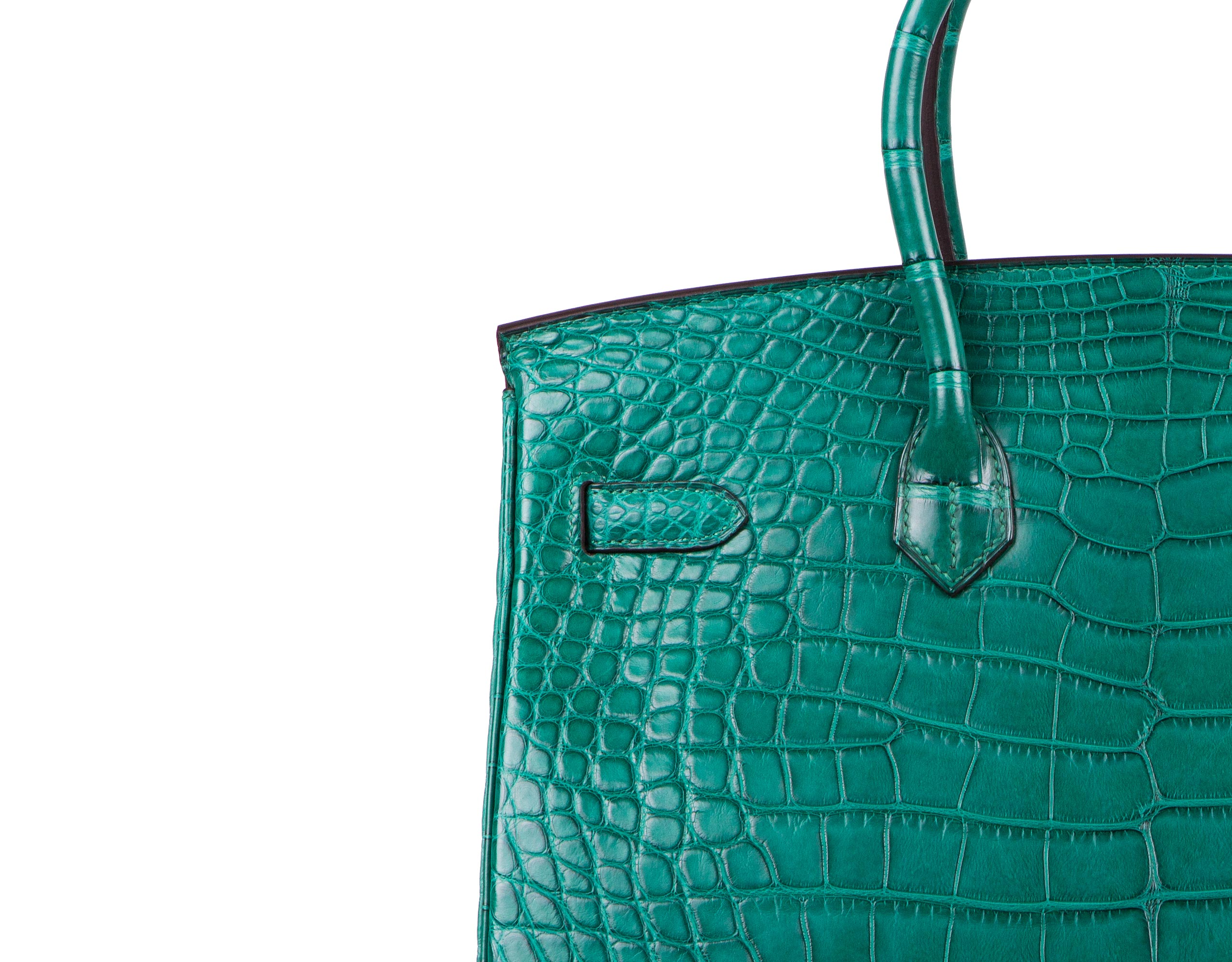 Hermes Bag Birkin Malachite Matt Alligator 35cm B118 Stitching