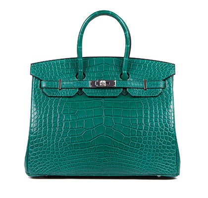 Hermes Bag Birkin Malachite Matt Alligator 35cm B118 Front