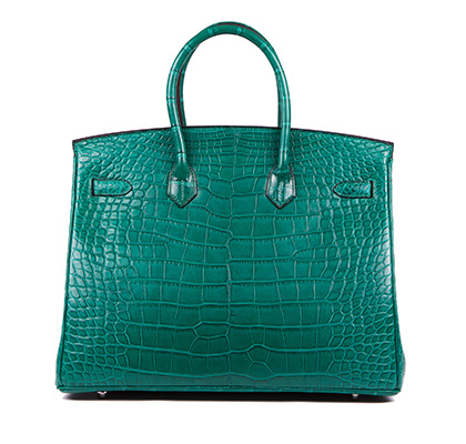 Hermes Bag Birkin Malachite Matt Alligator 35cm B118 Back