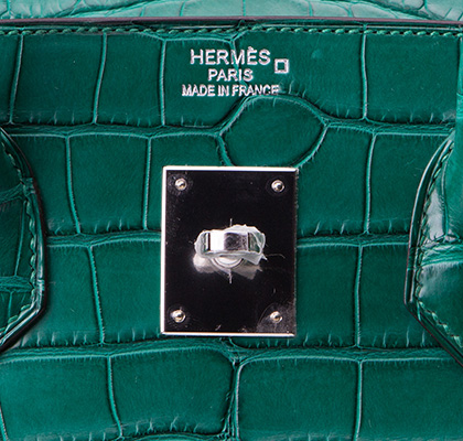 Hermes Bag Birkin Malachite Matt Alligator 35cm B118 Gilt