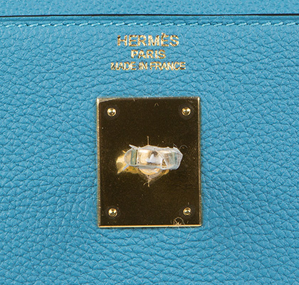 Hermes Kelly Bag Turquoise Togo With Gold gilt