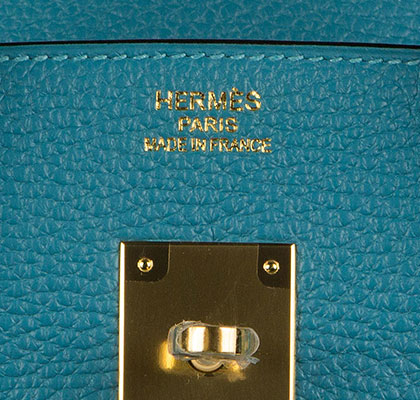 Birkin Turquoise 35cm Togo with Gold