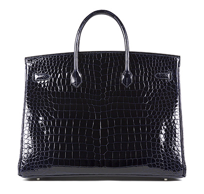 Birkin Blue Marine 40cm Shiny Nilo Croc with Palladium
