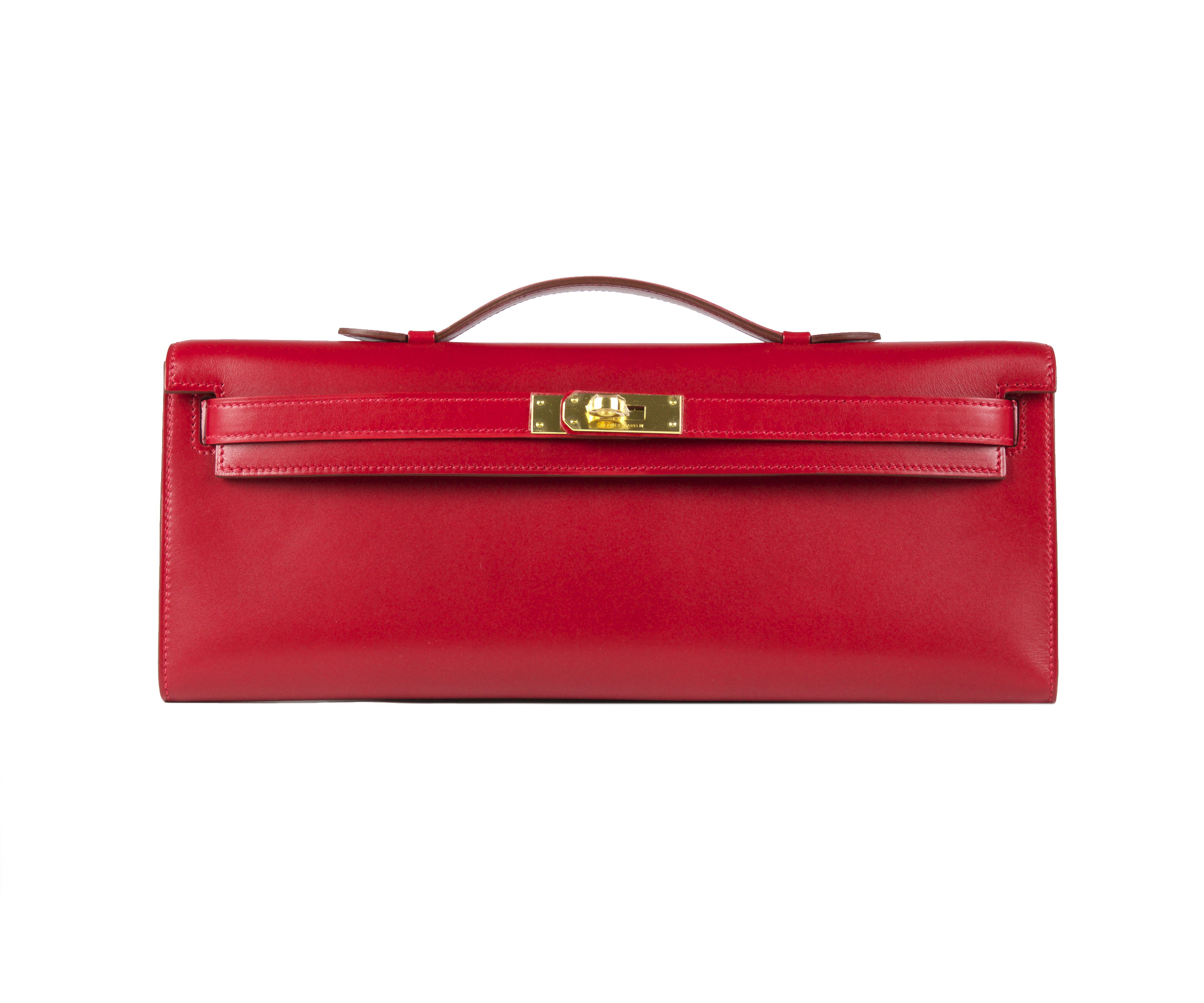 Hermes Kelly Cut Rouge Vif Tadelakt with Gold