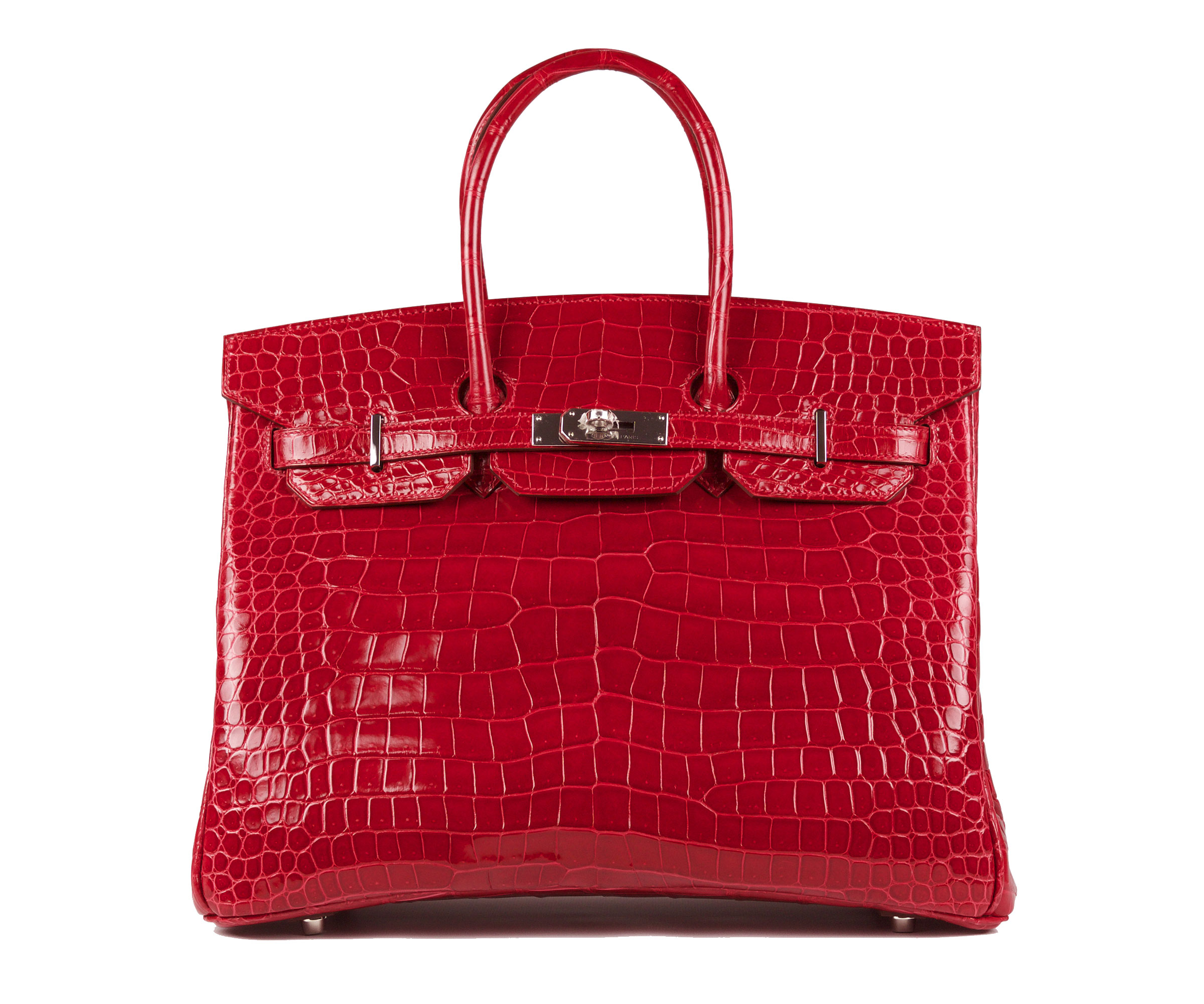 Birkin Rouge Braise 35cm Shiny Croc with Palladium
