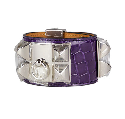 Amethyst CDC Bracelet Shiny Nilo Croc with Palladium