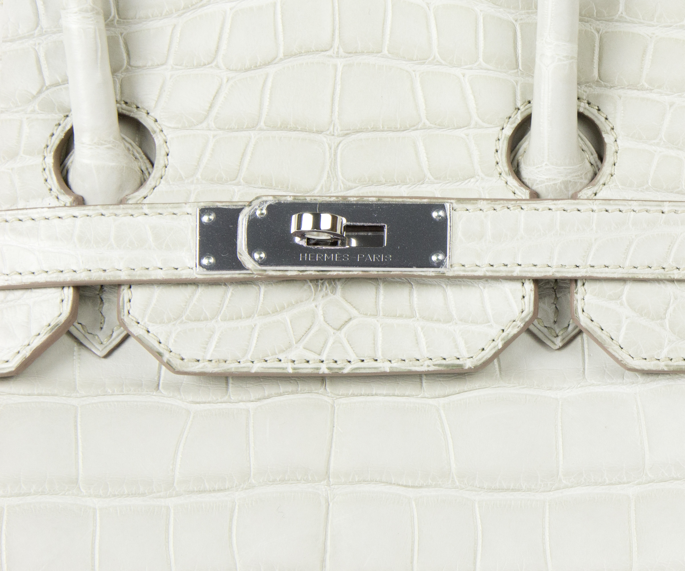 35cm Birkin Beton Bag in Matt Nilo Croc with Palladium