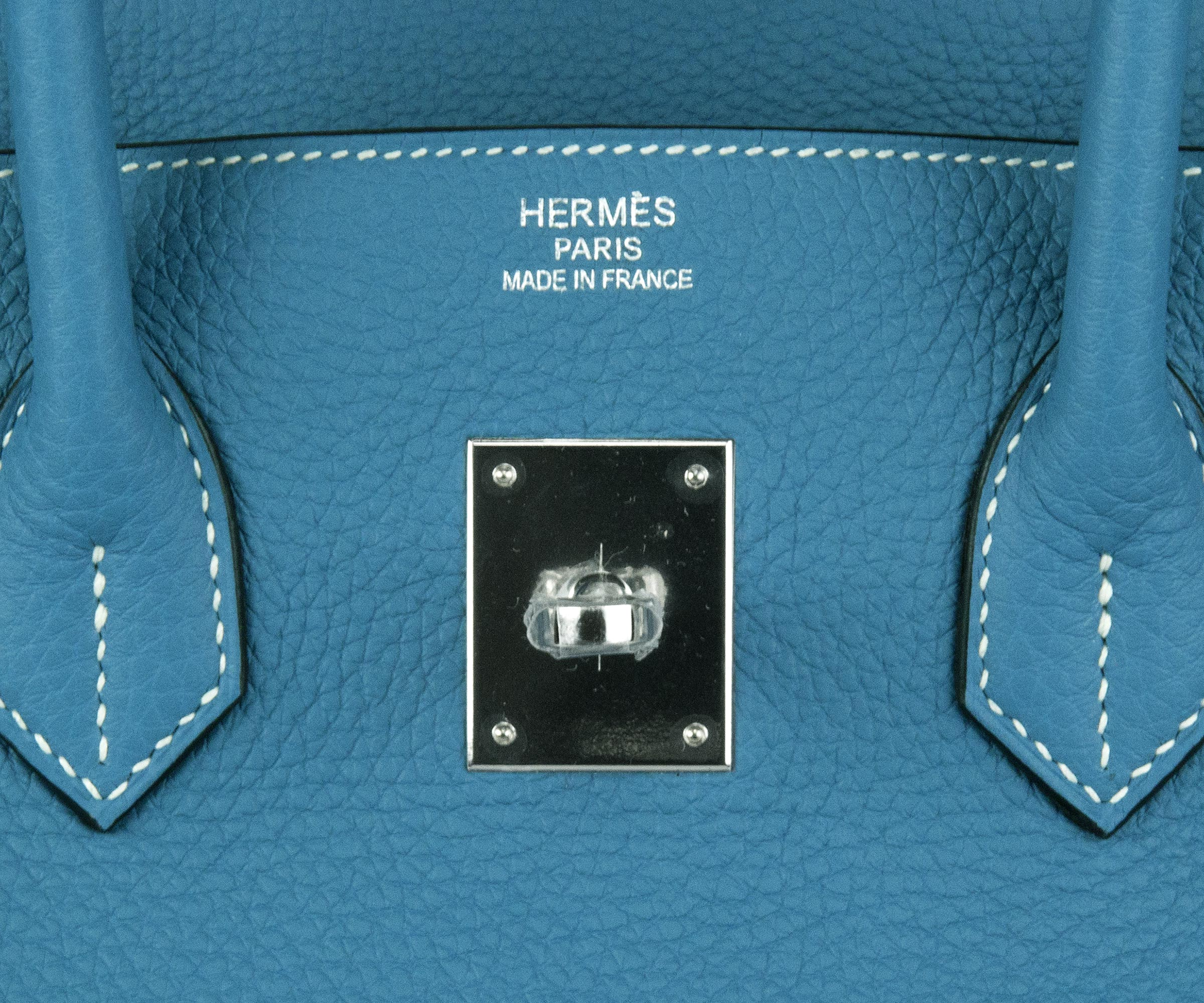 35cm Birkin Bag in Blue Jean Togo with Palladium
