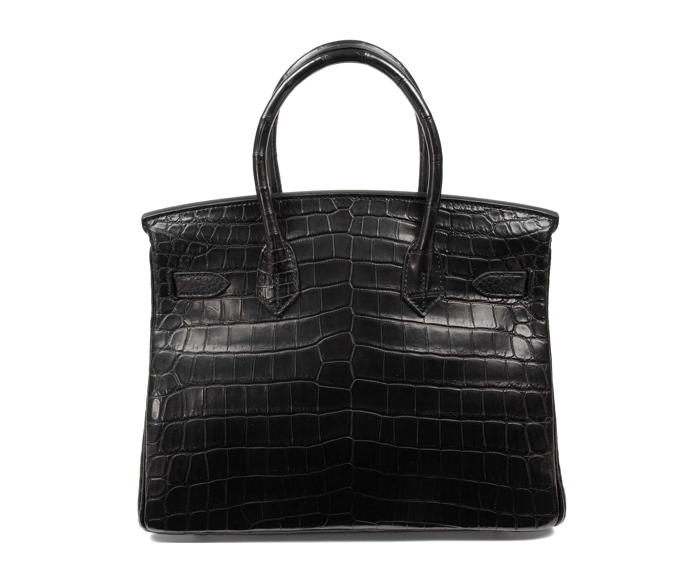 Hermes Birkin Black 30cm, Matt Nilo Croc with Gold Hardware