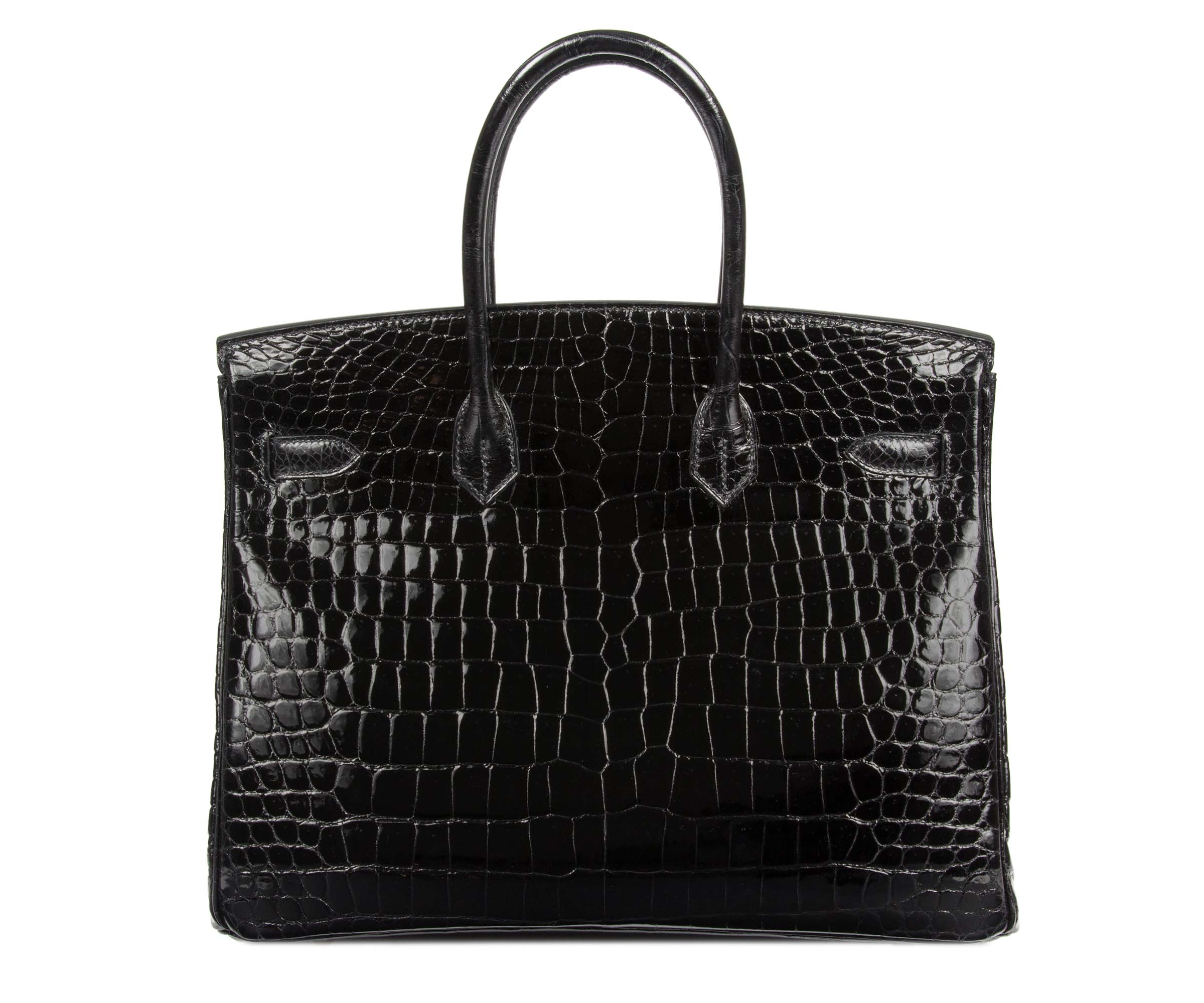 Hermes Birkin Black 35cm, Shiny Porosus Croc with Palladium Hardware