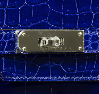 Hermes Birkin Blue Electric 35cm, Shiny Porosus Croc with Palladium Hardware
