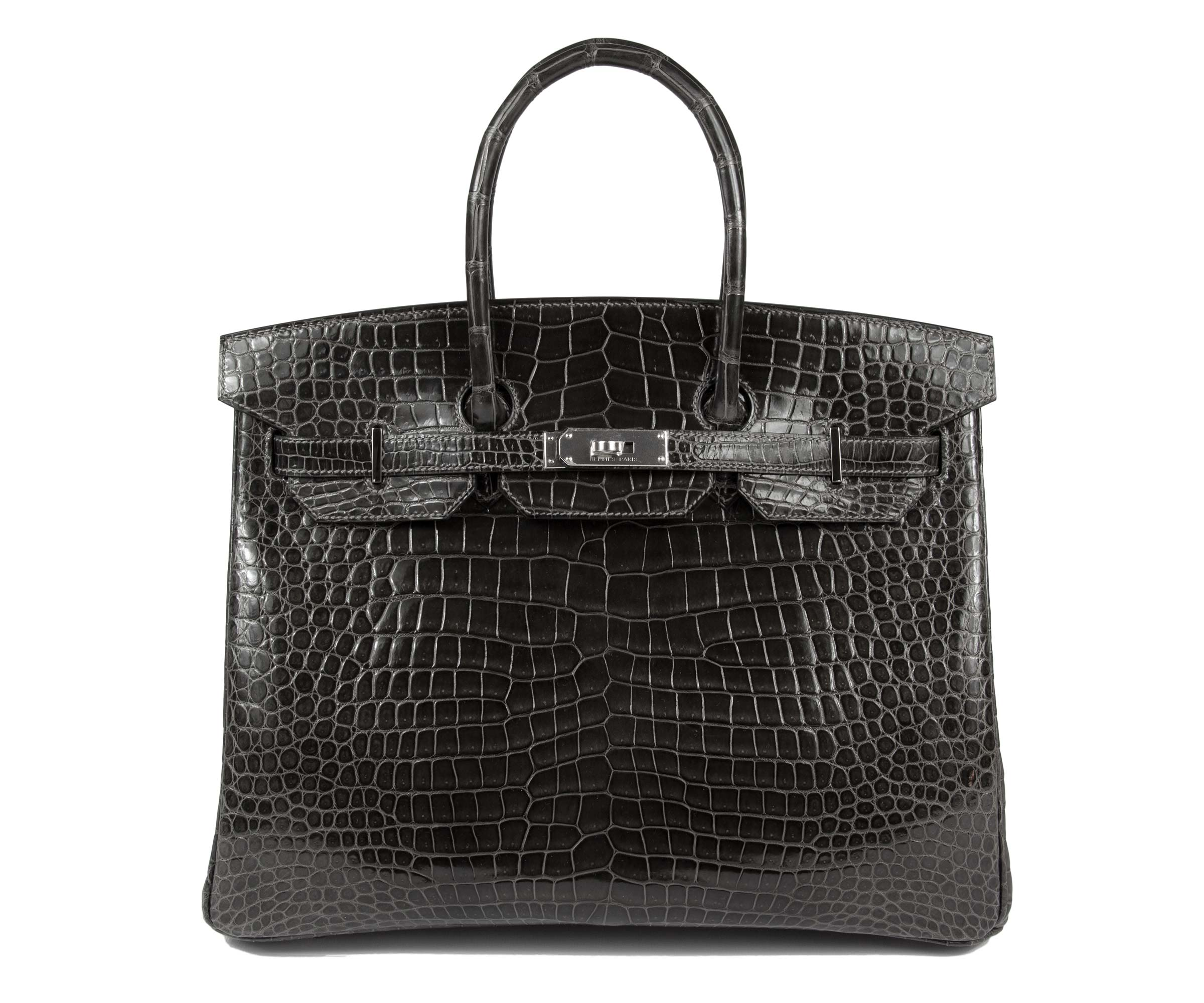 Hermes Birkin Graphite 35cm, Shiny Porosus Croc with Palladium