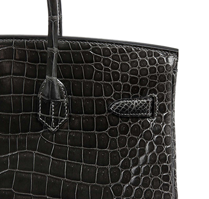 Hermes Birkin Graphite 35cm, Shiny Porosus Croc with Palladium Hardware