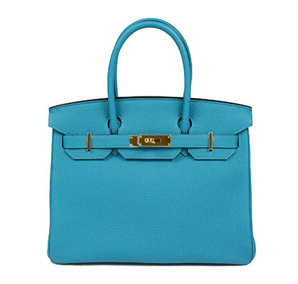 Hermes Birkin Turquoise 30cm, Togo with Gold Hardware