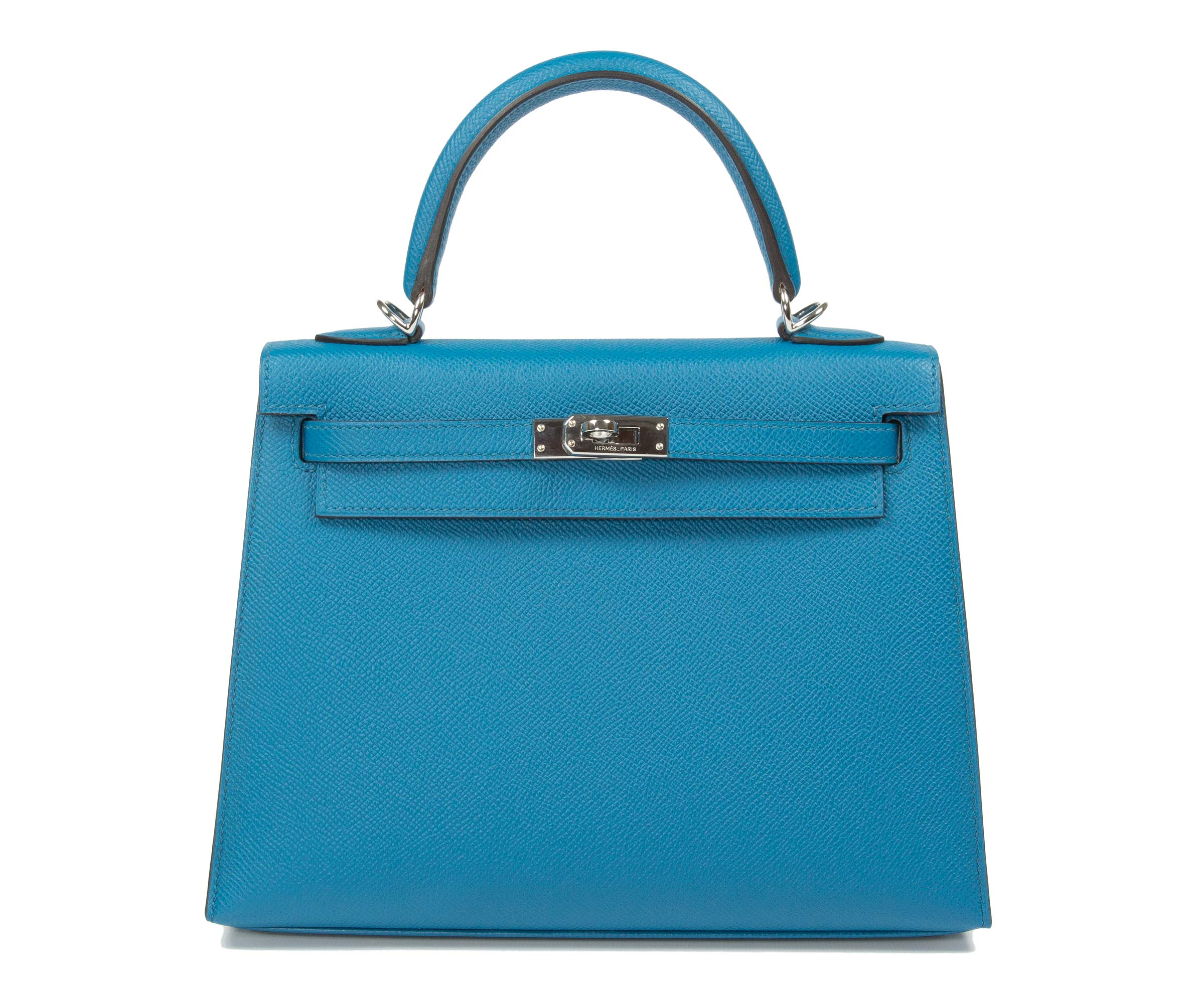Hermes Kelly Blue Izmire 25cm, Epsom with Palladium Hardware