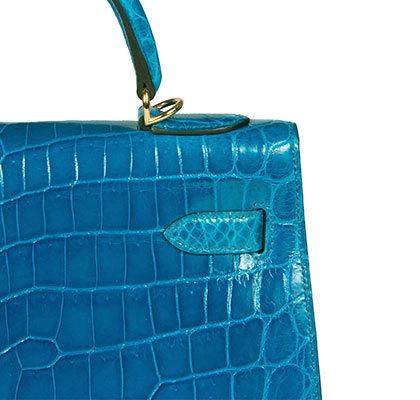 Hermes Kelly Blue Izmire 32cm, Shiny Nilo Croc with Gold