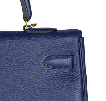 Hermes Kelly Blue Sapphire 25cm, Clemence with Gold