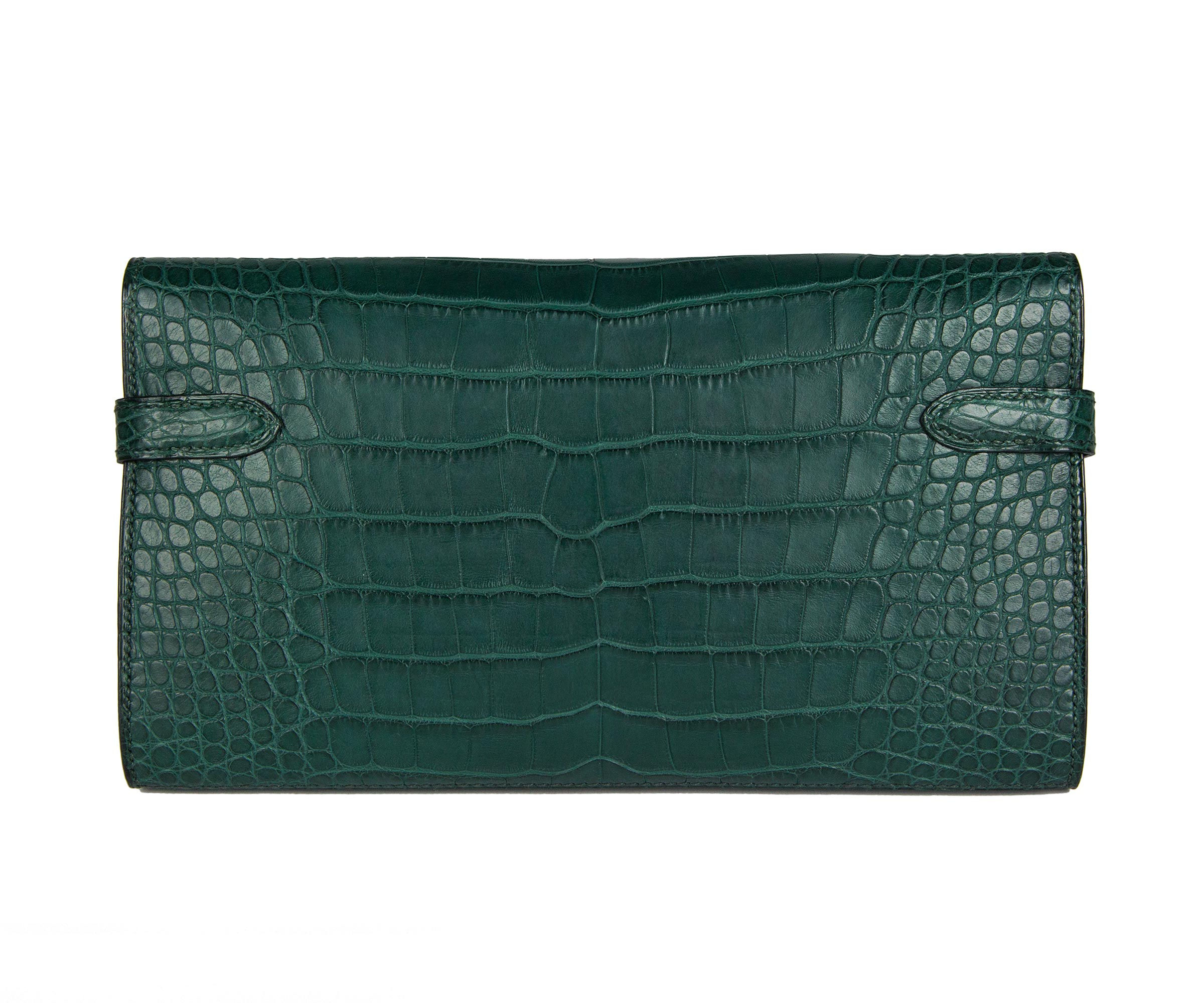 Hermes Kelly Wallet Vert Titian Matt Alligator with Permabrass