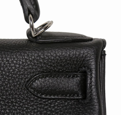Hermes Kelly Black 28cm, Togo with Palladium