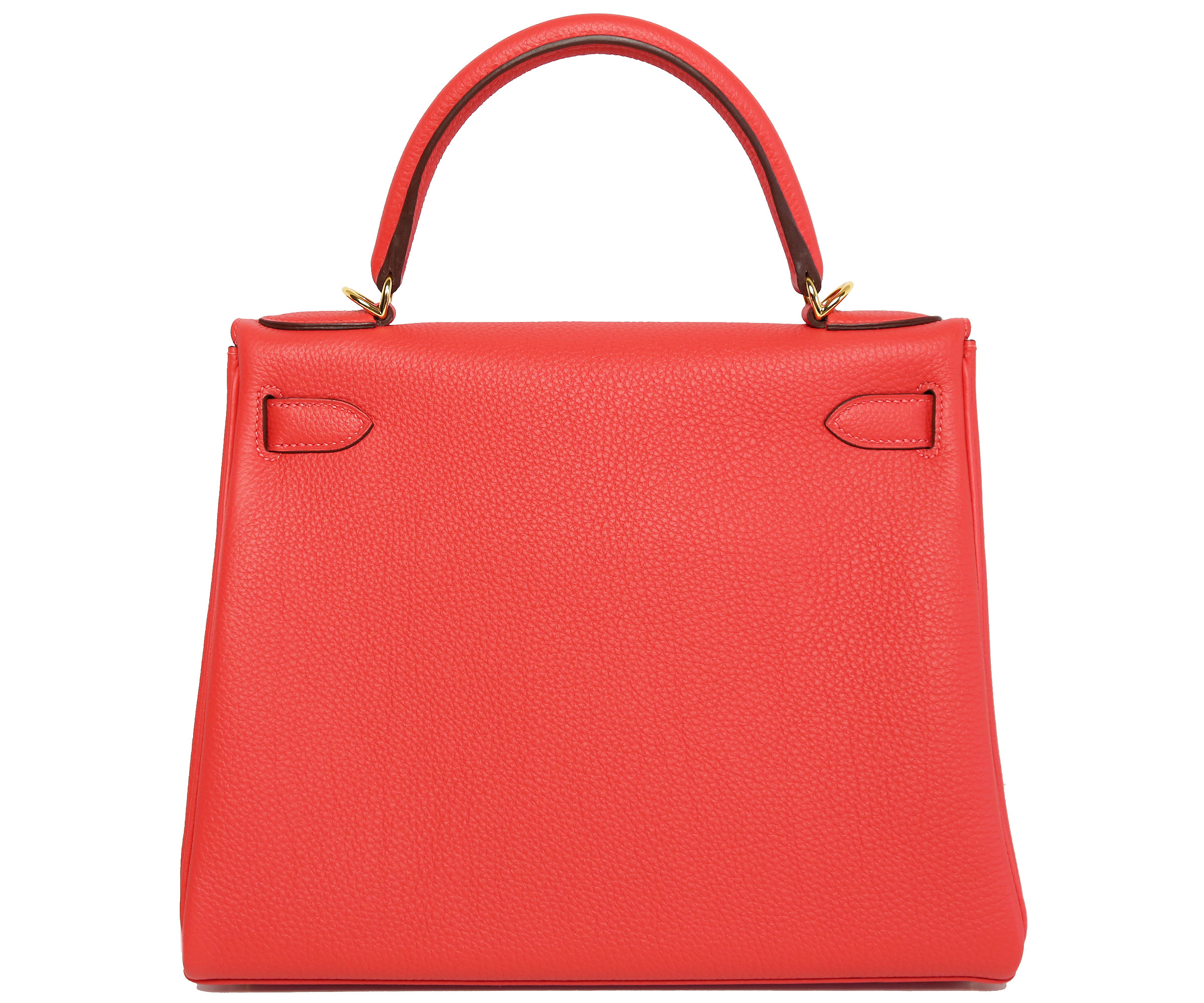 Hermes Kelly Rouge Pivoine 28cm, Togo with Gold Hardware
