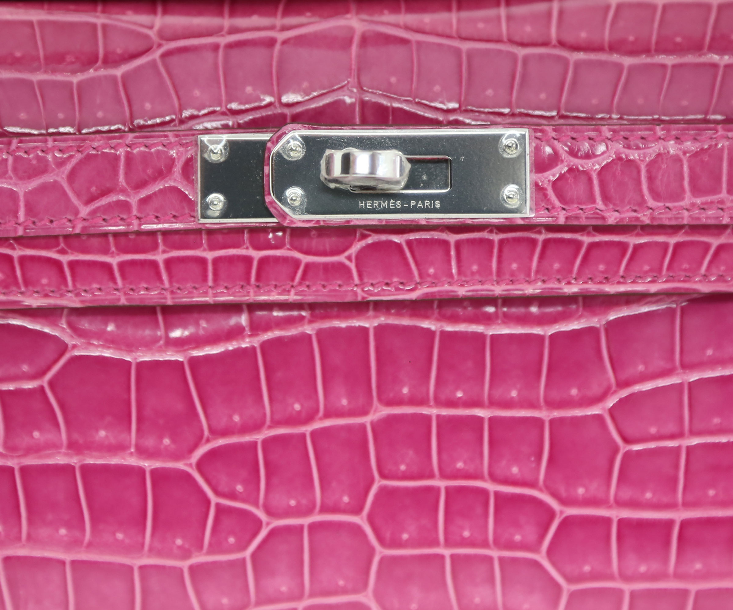 Hermes Kelly Cut Rose Tyrien Shiny Porosus Croc with Palladium