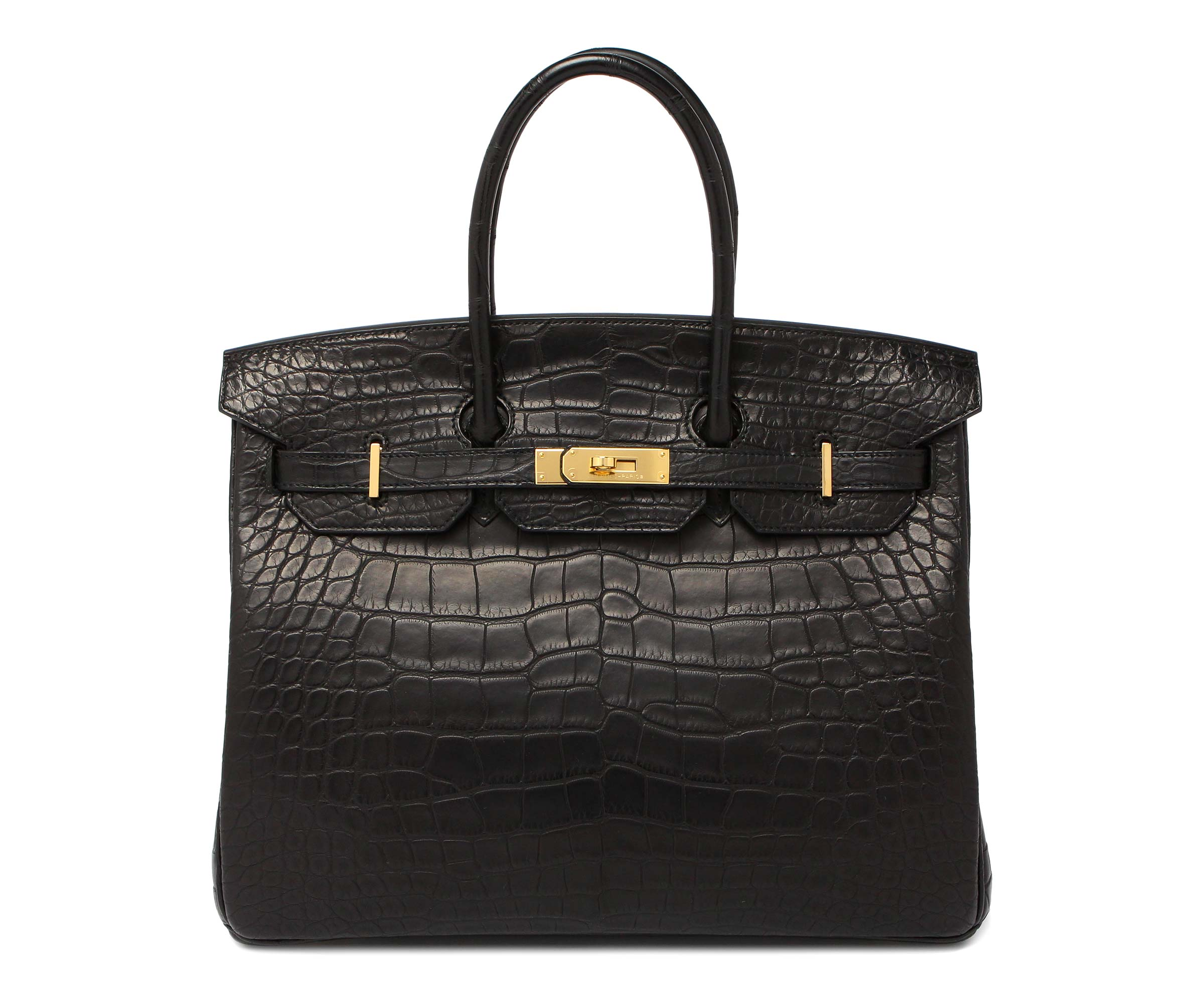 Hermes Birkin Black Matt Alligator with Gold