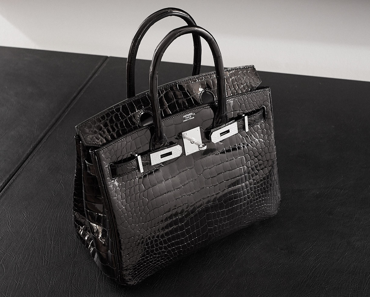 Black Birkin in shiny croc with diamond hardware