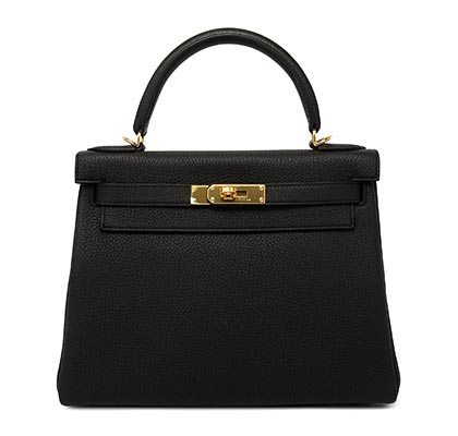 Hermes Kelly Black Togo with Gold