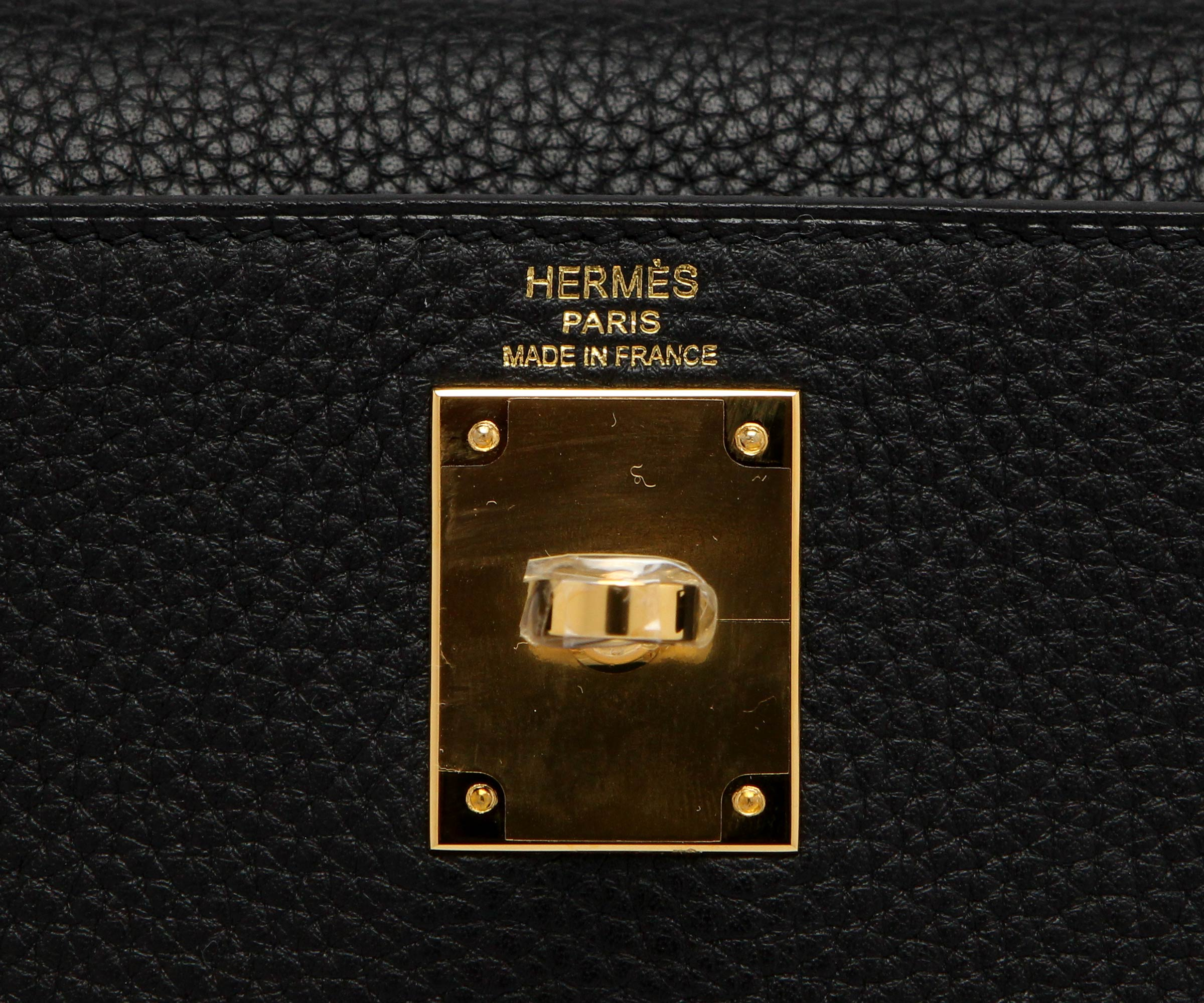 Hermes Kelly Black Clemence with Gold