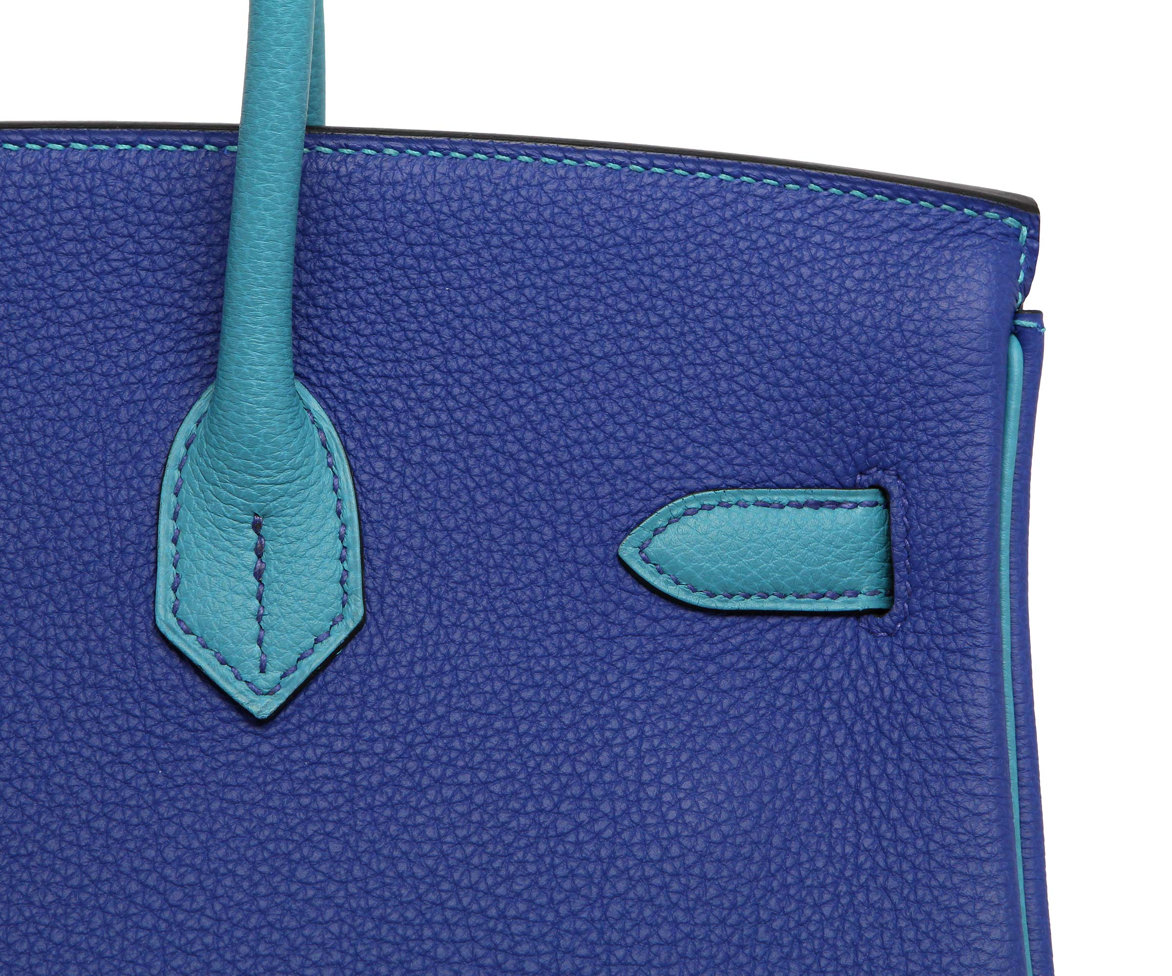 Hermes Birkin Blue Electric & Turquoise Togo with Palladium