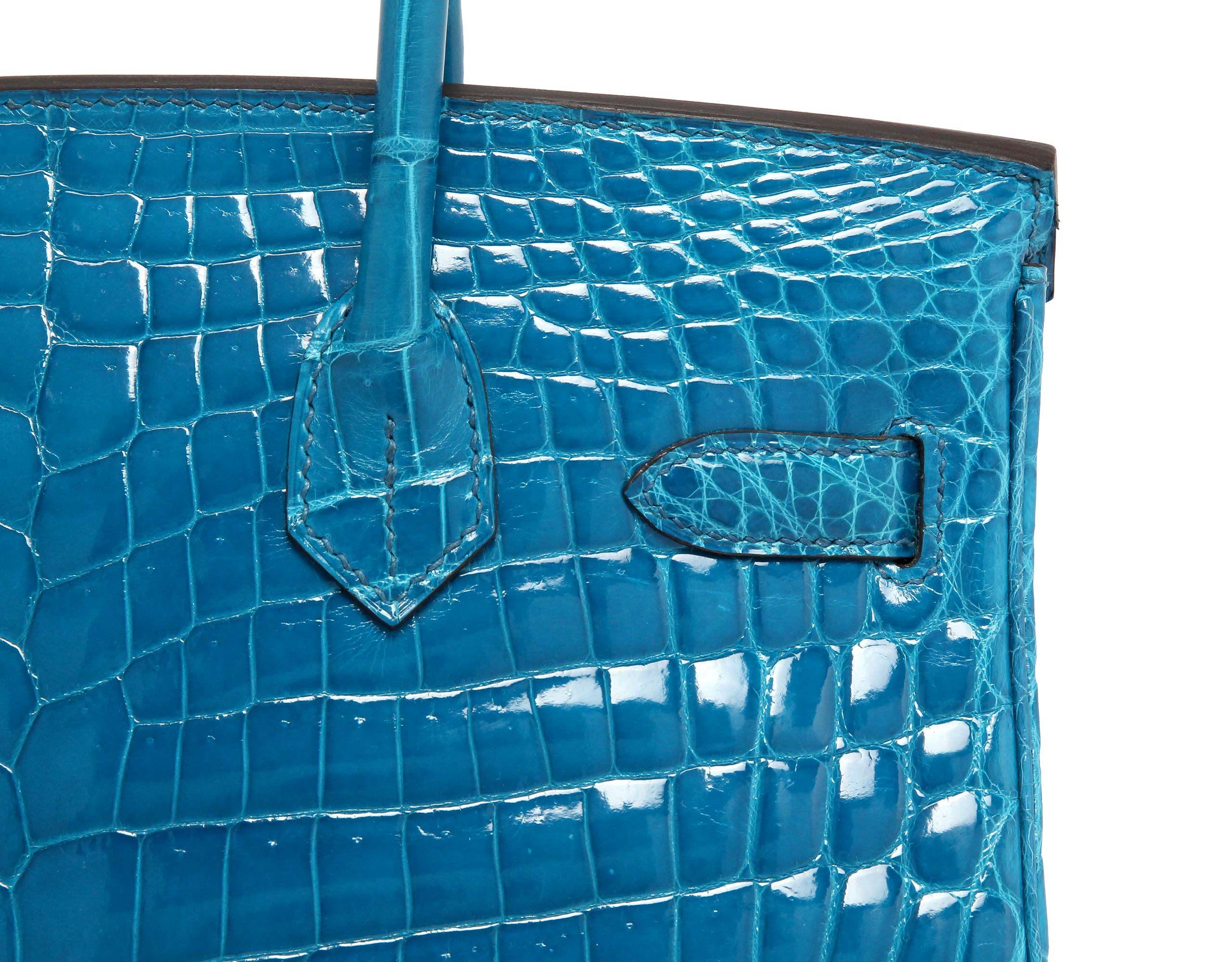 Hermes Birkin Bleu Izmire Shiney Croc with Palladium